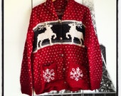 Ugly Tacky Christmas Red Reindeer  Hand- Knit Wool Sweater