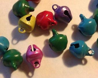 CLEARANCE 100 Tiny Metal Jingle Bells Multicolor Assortment 8 x 10mm DIY Bracelet Christmas Teachers Holiday Craft