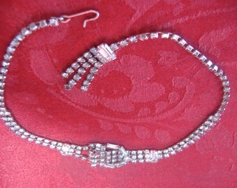 Rhinestone Buckle Style Choker Necklace Retro Classic Art Deco