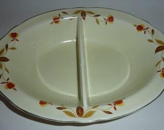 vintage hall autumn leaf  oval divided vegetable bowl