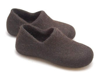 Eco friendly handmade felted slippers natural dark brown