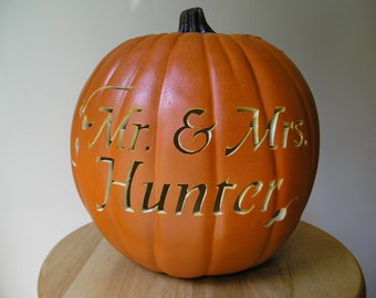 Fall Wedding  Carved Personalized Decorative Pumpkin