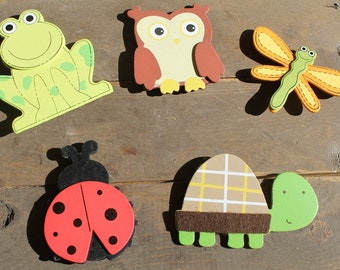 Set of 5 Wooden Forest Animal Magnets