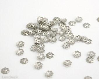 Silver Flower Bead Caps 6mm (100) Nickel Color Filigree Beadcaps