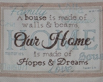 "Beautiful ""Our Home"" Cross Stitch, Perfect for Newlyweds or Housewarming, Made to Order"