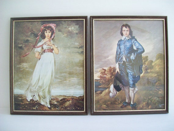 Vintage Rembrandt Blue Boy And Pinkie Framed Art Lithographs