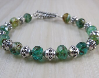 Czech glass and sterling silver Bali bead bracelet