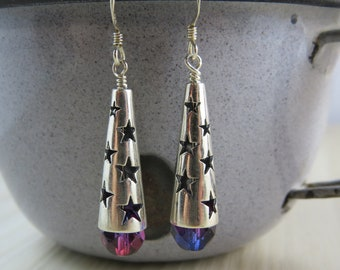 Red and blue Czech glass bead earrings sterling silver star caps