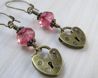 Pink Czech glass bead and heart lock earrings
