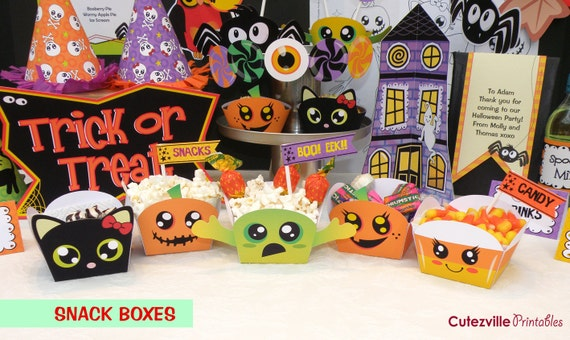 Halloween Printable Party Kit With Editable Text Features PDF - INSTANT DOWLOAD