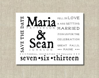 Printable Save the Date Card Wedding - modern typography - Black and White - Custom colors
