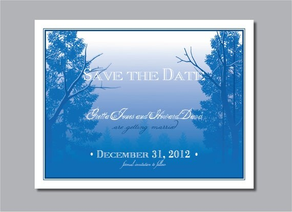 Printable Blue Save the Date card, enchanted forest, tree
