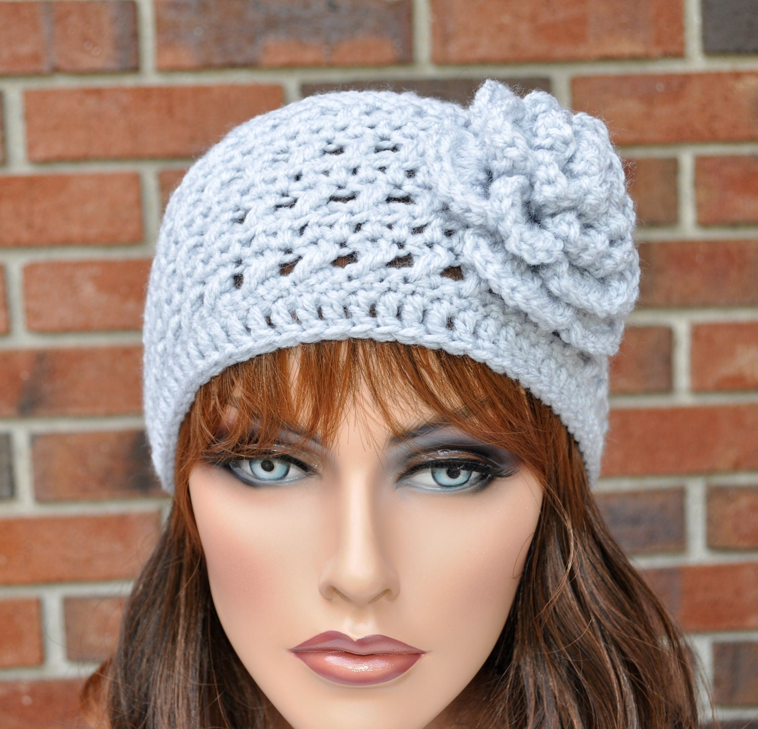 Crochet Wide Headband With Flower Free Pattern : Items similar to Extra wide Crochet Headband Ear Warmer ...