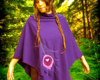Elegance Poncho with Peacock Magic