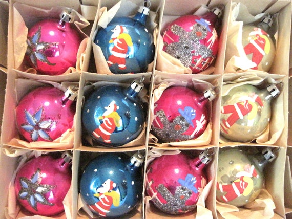 Vintage Blown Glass Hand Painted Christmas Holiday Ornaments Boxed set of 12