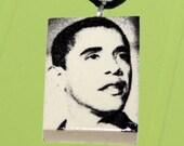 President Barack Obama - Necklace Pendant Polymer Clay - Style 2 - OOAK