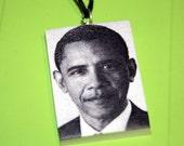 President Barack Obama - Necklace Pendant Polymer Clay - OOAK - Design 3