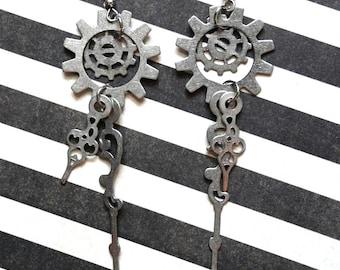 Steampunk Filigree Clock Hand Earrings, Gear Earrings, Victorian Jewelry, Steampunk Jewelry, Gothic Jewelry, Watch Earrings, Gear Jewelry