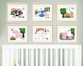 Nursery  prints, farm animals, kids room decor, Nursery wall art, art for children, baby print, baby art, SET of 6    8 x 10 Kids Prints