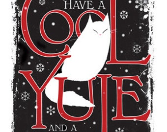 Cat Christmas card Cool Yule