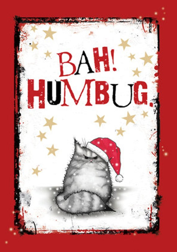 Bah Humbug Grumpy cat Christmas card Grey