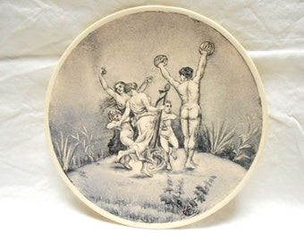 French Antique Handpainted Dancers Musicians Longchamp Ironstone Decorative Plate (A656)