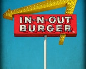 8x10 IN N OUT Burger Sign in a California Retro Vintage Grunge Googie Look - 8x10 Photographic Fine Art Print
