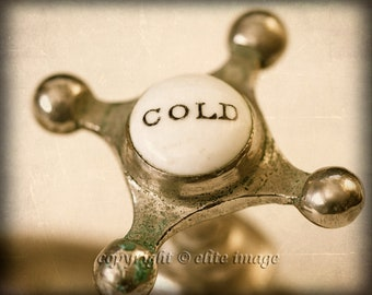 Pair (2):  Bathroom HOT and COLD Faucet Handles on the Sink or Bathtub in an Antique Retro Vintage Feel - Two 8x10 Photograph Print (P4G)