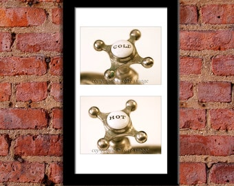 PICK PAIR (2):  Bathroom Hot & Cold Faucet Handles, Soap Dish on a Sink in an Antique Retro Feel - Pick Any Two 4x6 Or 5x7 Photograph Prints