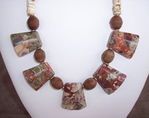 Trapezoid Shaped Jasper with Olive Wood and Ostrich Heishi Necklace