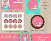 Pink and Lime Green Owl Birthday Party Package - DIY Printable