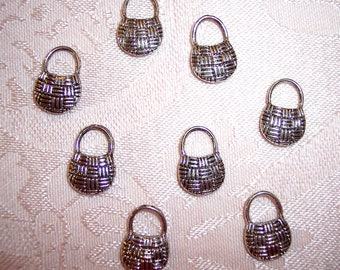 Miniature Silver Metal Purse Charms 11mm X 16mm- Set of 8