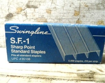 Vintage Office Supplies, Swingline Staples, Staples in Paper Box, S.F. - 1, SF1, Industrial, Retro Mad Men