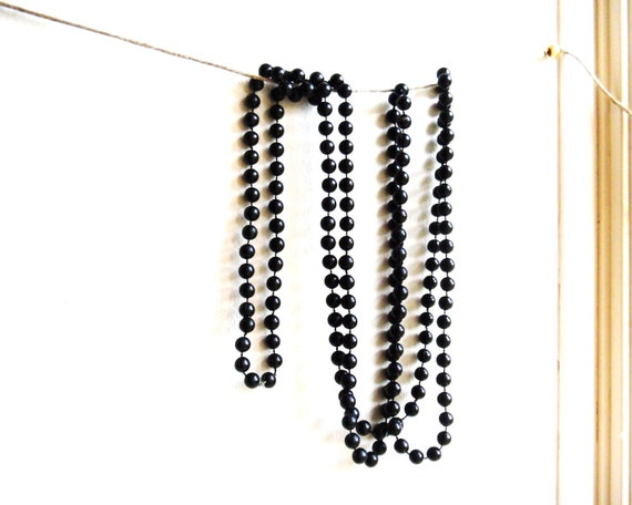 SALE 50 percent off Vintage black beaded long necklace