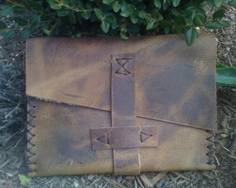Small Leather Pouch, Unisex Leather Carryall, Handmade Purses