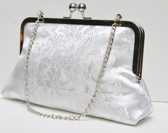 White bloom classic clutch bag : silk-lined purse, bridal accessory, wedding day, bridesmaid gift