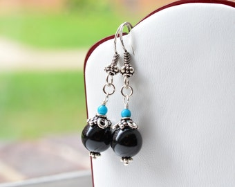 Onyx and Turquoise Sterling Silver Earrings, Onyx & Sleeping Beauty Arizona Turquoise Sterling Dangle