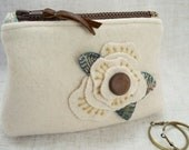 Winter Rose Wool Zippered Pouch, Clutch, Coin Purse, iPhone case