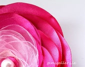 Pink  Flower, Organza Brooch, Pink Wedding Flower - gemsgallery
