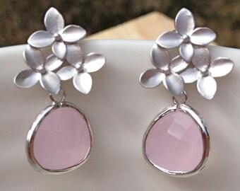 Silver cherry blossom cluster earrings