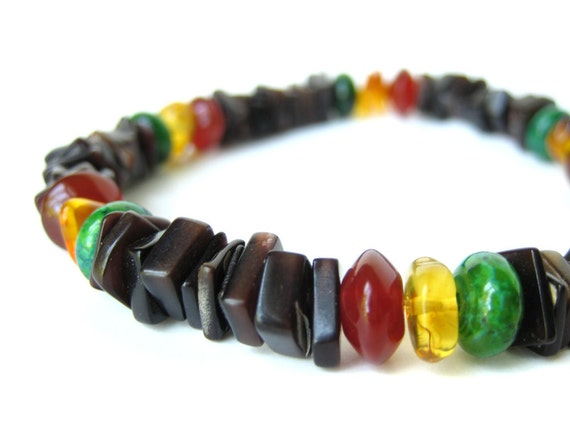 Men's beaded bracelet - shell bracelet for men - Rasta