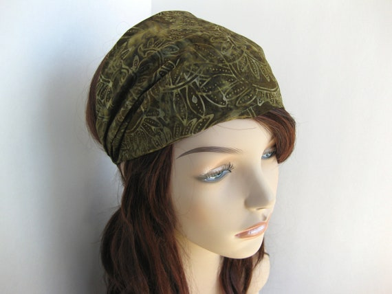 Batik Fabric Headband Gypsy Wrap Women's Elastic Fall Bandana Olive Green Vine Leaf Design Hair Accessory