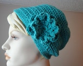 Crocheted Slouchy Hat Toque with Matching flower pin in Aqua Teal Blue Turquoise