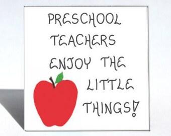 Magnet Quote, Preschool teacher, Pre-K, nursery school educators, red apple design