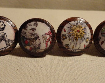 "Tarot Card Drawer Knobs/Drawer Pulls - 1 1/4"" wide and 1"" tall. (Set of 4)"