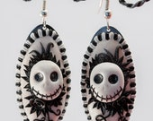 Reserved for Carrie - Polymer Clay Skulls Flowers - Sugar Skulls - Halloween Jewelry - Goth Lolita Earrings