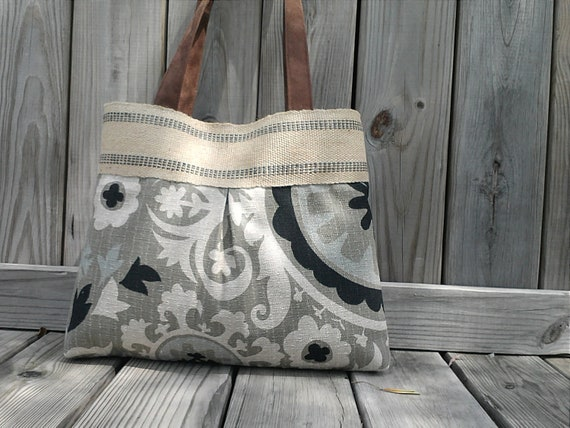 Grey and Black Floral Tapestry Suzani Pleated Handbag Tote Purse with Jute Webbing