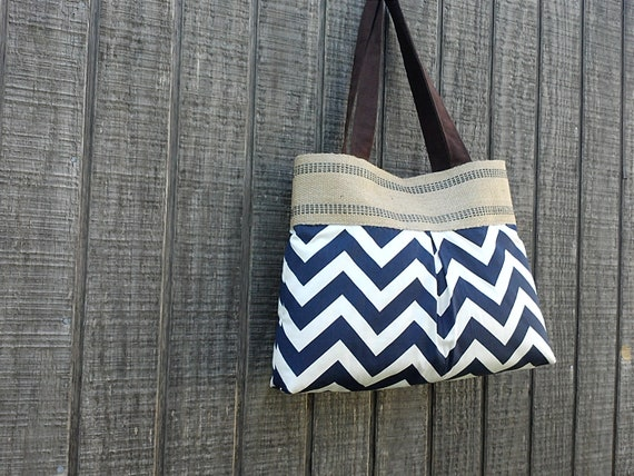 Navy Blue and White Chevron Zig Zag Purse Handbag with Jute Webbing
