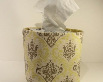 Tissue Holder-Fabric Basket Organizer Bin Storage Container-Yellow Gray and Ivory Damask Print with Solid Yellow Interior