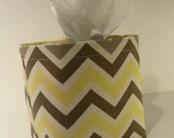 Tissue Holder-Fabric Basket Organizer Bin Storage Container-Yellow Gray and Ivory Chevron Zig Zag Stripe with Solid Yellow Interior